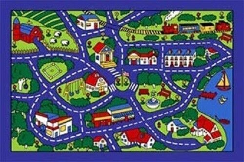 STREET MAP BLUE SCHOOL CLASSROOM PLAY RUG KIDS 8 X 11 GEL BACK AREA RUG