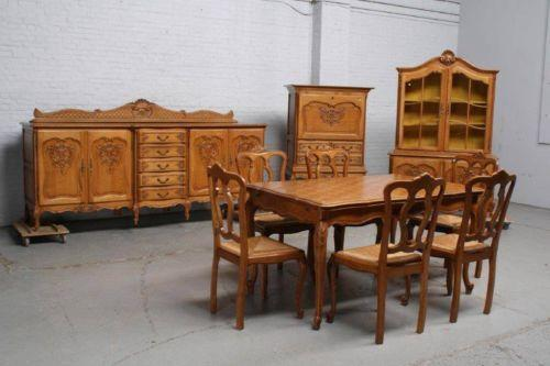 Antique oak dining room set ebay for Antique dining room sets
