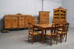 Old Wood Dining Room Chairs antique dining set | ebay