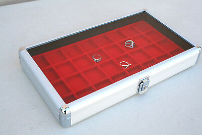 Aluminum Jewelry  Watch Display Case Box Glass Top Display Storage Holder