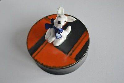 Goldscheider pottery Art Deco box with Terrier dog on lid No 6478A c.1920-30s