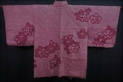 Vintage Japanese Deep Wine Red Silk 'Camellias' SHIBORI Kimono Haori Jacket XS