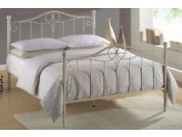New Ivory Coloured Double (4FT6) Metal Bed Frame (FREE LOCAL DELIVERY!!!)