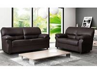 *COME AND VIEW IT ,TRY IT THEN BUY IT* BRAND NEW CANDY LEATHER 3+2 SOFA SUITE BROWN