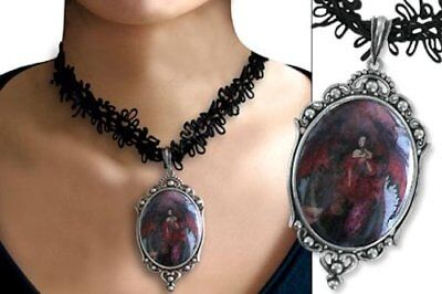 Amy Brown Cameo Necklace Follow Me Goth Fairy pendant black angel dragon wings
