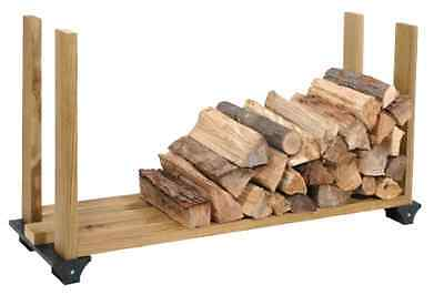Firewood Rack System Wood Log Holder Storage Carrier Fireplace Outdoor 2x4 Black