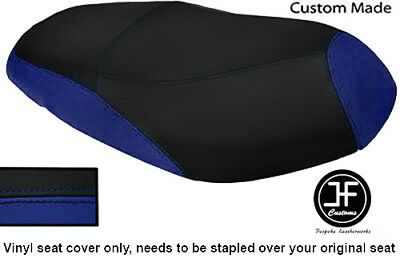 BLACK AND ROYAL BLUE VINYL CUSTOM MADE FITS <em>YAMAHA</em> VITY 125 DUAL SEAT