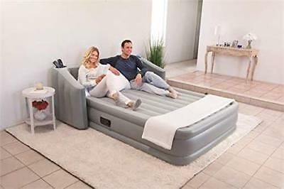 Inflatable Queen Air Mattress With Wingback Headboard Built