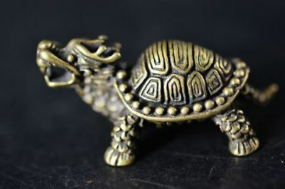 Collection Chinese Brass copper *dragon turtle* Lucky pendant / statue