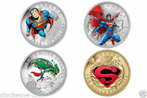 RCM SUPERMAN 2014 Gold/Silver Coin Set, All 4 Coins MINT
