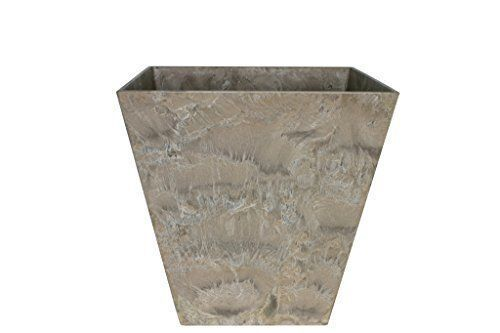 Artstone Planter - TAUPE - 30 X 29 cm - ELLA - Marble effect lightweight plastic