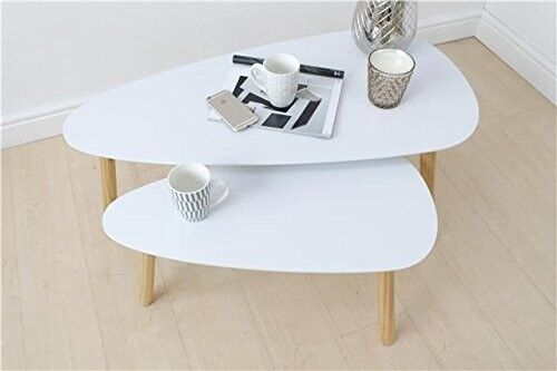 Scandinavian 2 Piece Nested Coffee Table In White
