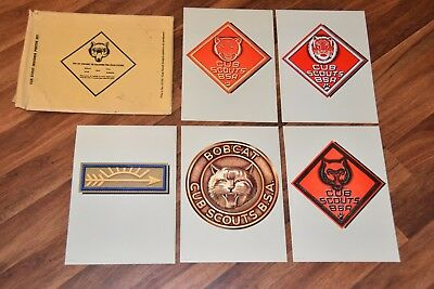 vintage Cub Scout Insignia Color Poster Lithograph Set of 5 in Original Envelope