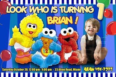 Sesame Street Photo Invitations (ELMO SESAME STREET BIRTHDAY PARTY INVITATION PHOTO 1ST BABY- BABIES FIRST C8)