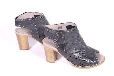 24D rosaerosa Damen Schaft-Sandalen Leder grau Gr. 37 Krokolook Blockabsatz