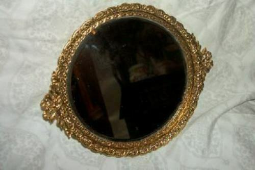 MATSON STYLE FILIGREE ORMOLU VANITY MIRROR BOWS PETITE BEVELED GLASS MID CENTURY