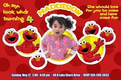 Sesame Street Photo Invitations (ELMO SESAME STREET BIRTHDAY PARTY INVITATION PHOTO 1ST CUSTOM RED-)
