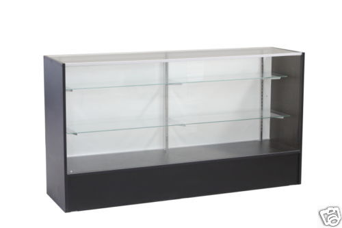 Glass Wood Black Showcase Display Case Store Fixture Knocked Down #SC-SC6BK
