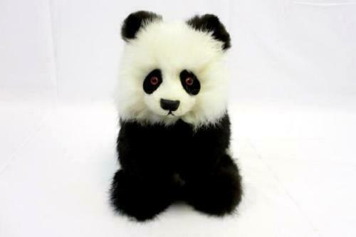 "Quality Vintage Real Fur Panda Bear Black White 10"" tall stuffed animal toy"