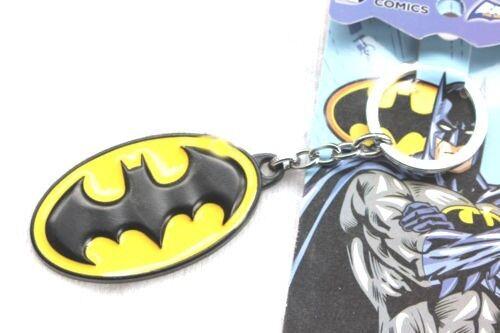 Batman-All-Brass-metallic-Yellow-Logo-Key-Chain-Key-Ring-by-DC-Comics-New