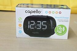 Capello CR22 Sleep and Charge Dual Alarm Clock with Dual USB Charging