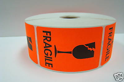 500 Labels 2x3 Brred Broken Glass Shipping Mailing Fragile Warning Stickers