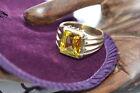 Citrine Yellow Gold Rings for Men