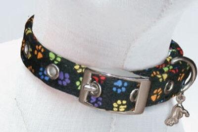 Print Cotton Dog Collar - Fabric Dog Collar by Dixie Digs Charming Paw Prints Cotton & Acrylic FREE CHARM