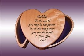 Solid Maplewood Heart Shapped Jewellery Box (Set of 3) Blank on front rrp 30.00 each