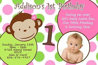 MOD MONKEY BIRTHDAY PARTY INVITATION PHOTO 1ST BABY SHOWER CUSTOM GIRL DOTS C4