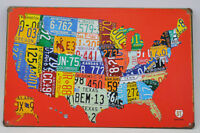Vintage 8 x 12 License Plate Shaped USA Painting Tin Wall Sign