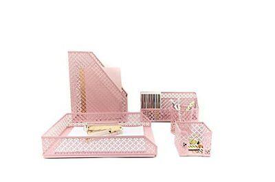 Pink Desk Organizer 5 Piece Accessories Set Letter Mail Sticky Note Holder Tray
