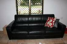 Black leather 2 and 3 seater lounge Kelso Townsville Surrounds Preview