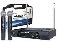 KAM KWM11 VHF Wireless Radio Microphone System Twin Handheld Mics DJ