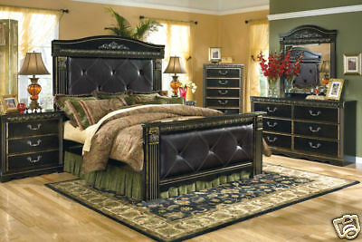 PALISADE 5 piece Traditional Black Bedroom Set NEW Furniture - Queen Mansion Bed