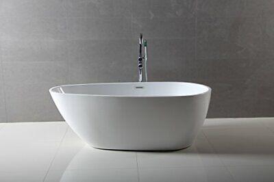 Dyconn Faucet Freestanding Acrylic Bathtub, Glossy White 59 inch - WTM02505SM