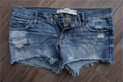 Abercrombie & Fitch Jeans Hose kurz mit Schnittmuster Gr W25 blau in ...