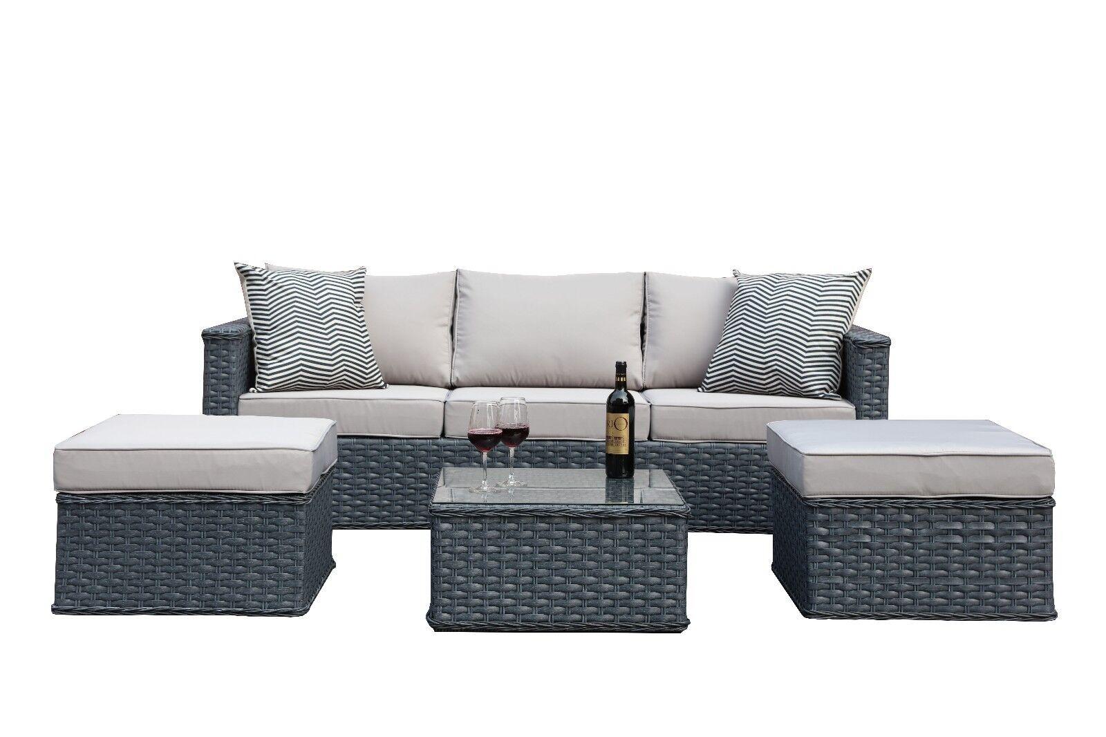 Polyrattan Gartenmöbel Lounge Tisch Sitzgruppe Rattan