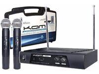 KAM KWM11 VHF Wireless Radio Microphone System Twin Handheld Mics DJ