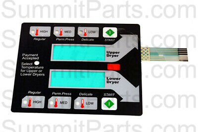 Black Membrane Switch Touch Pad For New Dexter Stack Dryer - 9801-100-001