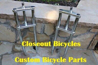 Fat Tire 26X4  Triple Tree Chrome Bicycle Fork Chopper 1  Threadless Disc Brake