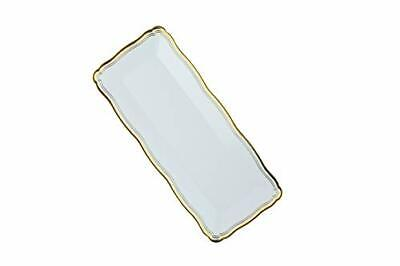 Plastic Serving Tray | White Rectangular Serving Trays With Gold/Silver Rim 6 PC - White Plastic Serving Trays