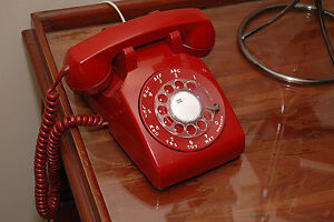 Red desk phone