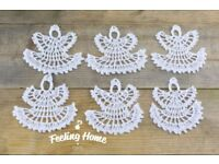 6 Crochet White Angels Handmade Christmas Tree Decoration Vintage Revelations
