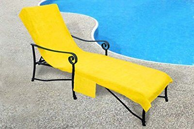 - QUALITY Terry Cloth Pool  Lounge Chaise Chair Cover  Pockets Light Yellow