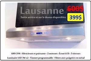 Hotte de cuisine de 30po puissante silencieuse 600 CFM en acier inoxydable PURE DESIGN