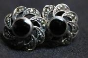 Marcasite Onyx Earrings