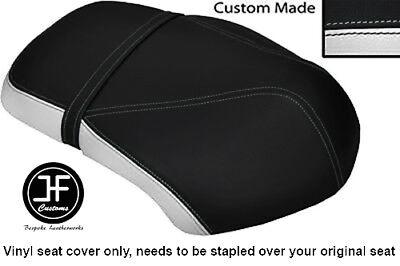 WHITE AND BLACK VINYL CUSTOM FITS <em>YAMAHA</em> XF 50 GIGGLE DUAL SEAT COVER