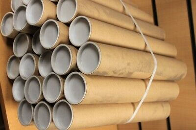 50x QUALITY CARDBOARD POSTAL TUBES + END CAPS - 330 x 50 x 1.5mm