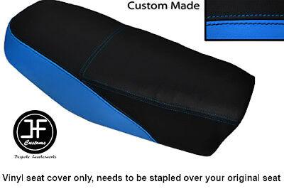 BLACK AND LIGHT BLUE VINYL CUSTOM FITS <em>YAMAHA</em> DT 50 MX DUAL SEAT COVER